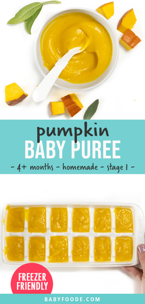 Graphic for post - pumpkin baby food - 4t months - homemade - stage 1. Images of a small bowl filled with a creamy pumpkin puree and a tray of puree ready to be frozen.