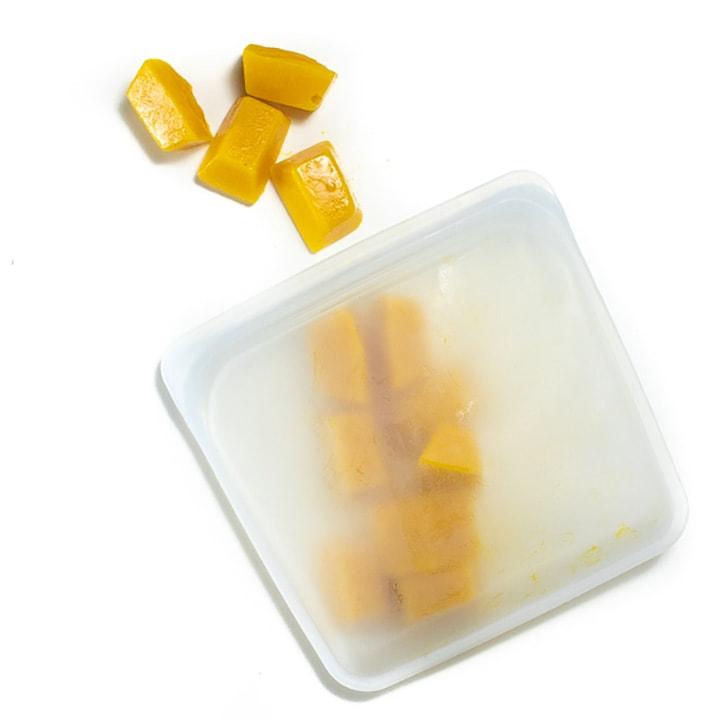 Stasher bag full of frozen pumpkin cubes.