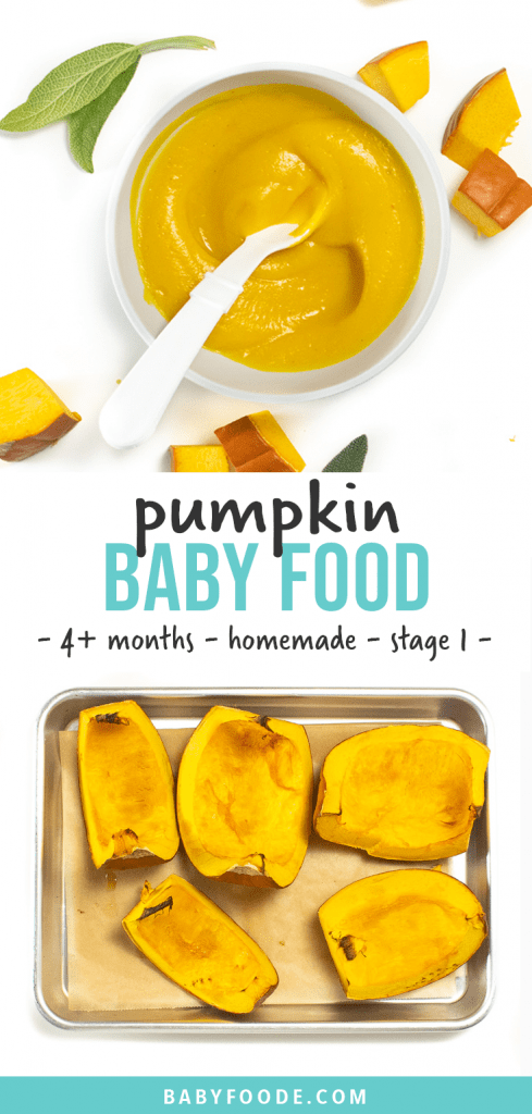 Graphic for post - pumpkin baby food - 4t months - homemade - stage 1. Images of a small bowl filled with a creamy pumpkin puree and a tray of roasted pumpkin.