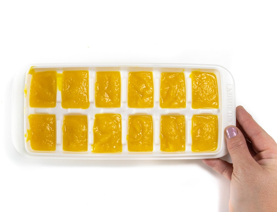 freezer tray of pumpkin puree for baby.