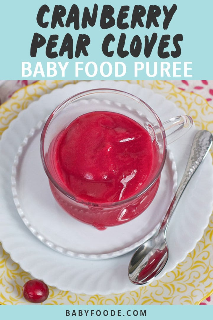 Graphic for Post - Cranberry, Pear and Cloves Baby Food Puree. Image is of a clear jar filled with a cranberry baby puree.