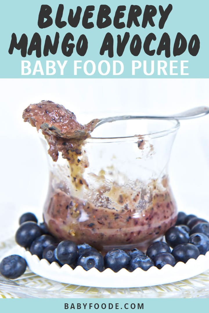 Graphic for Post - Blueberry, Mango and Avocado Baby Food Puree, Image is of a clear cup with the chunky puree inside, with a spoon resting on top of the lid.