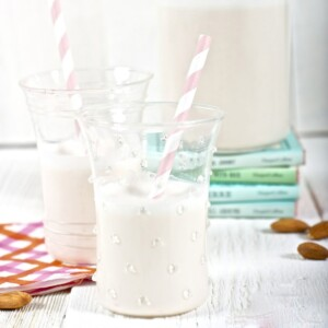 2 glasses of homemade almond milk for toddlers.