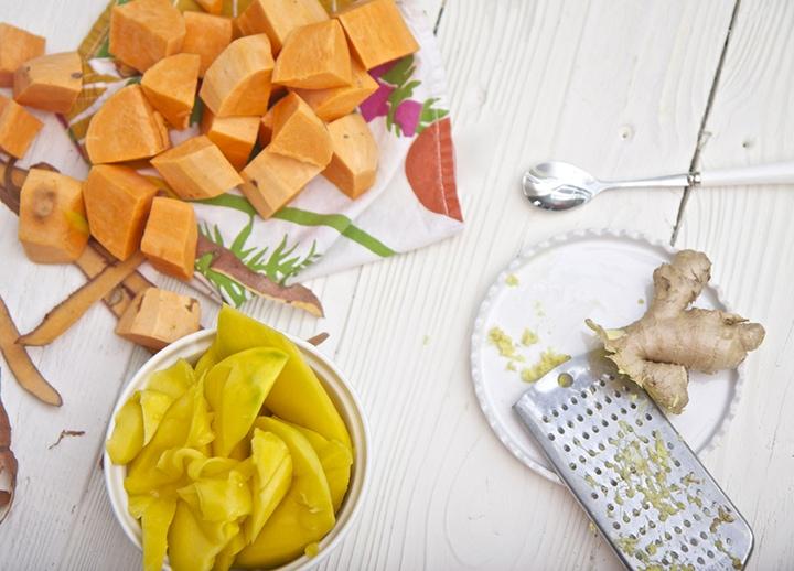 Produce spread on a white board.