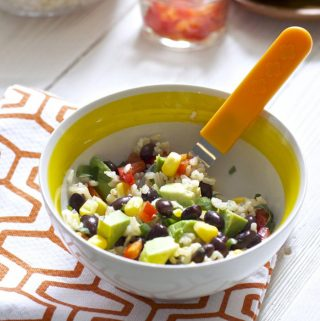 bowl filled with healthy fiesta ingredients for toddlers and kids