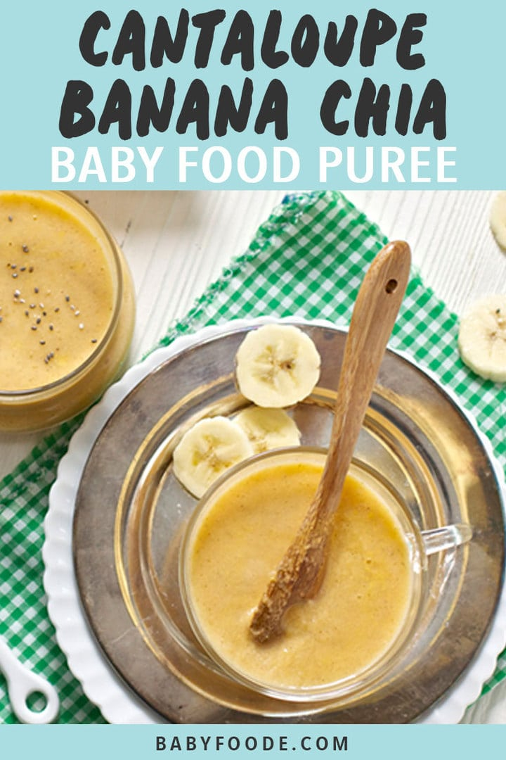 Graphic for Post - Cantaloupe Banana Chia Baby Food Puree. Image is of small clear bowl filled with a homemade baby food puree.