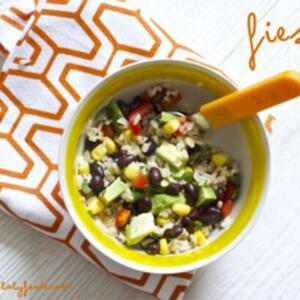 a fiesta bowl with a spoon in it.