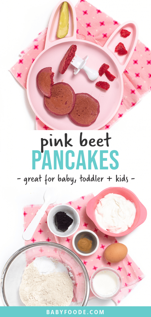 Graphic for Post - pink beet pancakes - great for baby, toddler and kids. Image is of a pink plate with small pink pancakes and a white baby fork as well as a spread of the pancake ingredients.