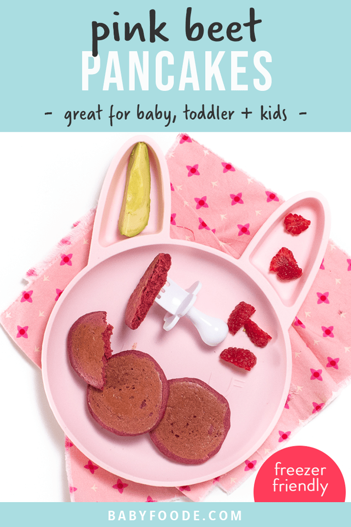 Graphic for Post - pink beet pancakes - great for baby, toddler and kids. Image is of a pink plate with small pink pancakes and a white baby fork.
