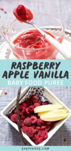 Graphic for Post - Raspberry Apple and Vanilla Baby Food Puree. Images of a clear bowl filled with puree and as an image of a square bowl filled with produce.