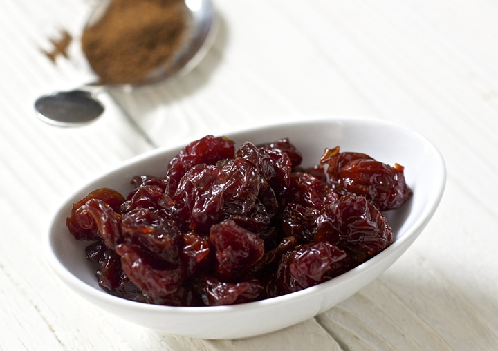 Small bowl of dried cherries.