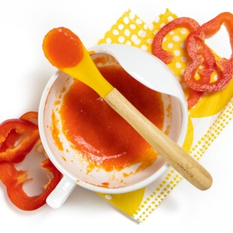 White bowl filled red pepper puree.