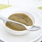 small bowl filled with the homemade puree with a spoon resting next to it filled with puree.