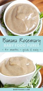 Roasted banana baby puree with rosemary in a small white bowl.