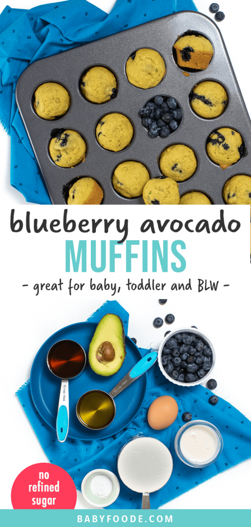 Graphic for post - blueberry avocado muffins for baby, toddler and baby-led weaning. no refined sugar. Images are of a muffin pan with cooked muffins and a scattering of blueberries and a spread of the ingredients needed to make these muffins.