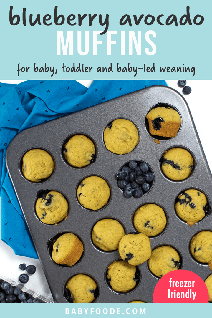 Graphic for post - blueberry avocado muffins for baby, toddler and baby-led weaning. no refined sugar. Images are of a muffin pan with cooked muffins and a scattering of blueberries.