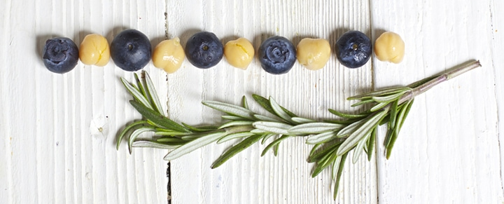 Spread of blueberries, chickpeas and rosemary.