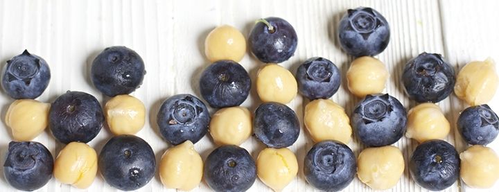 Blueberries and chickpeas in a grid on a white background.