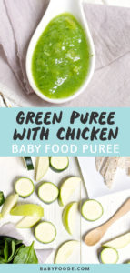 Graphic for post - green puree with chicken baby food puree with images of a spoon with puree inside as well as a spread of veggie and chicken.
