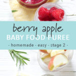 Graphic for post - Berry Apple Baby Food Puree - homemade - easy - stage 2. Images are of a spread of glass bowls filled with produce and a homemade baby food puree as well as an image of a spread of price.