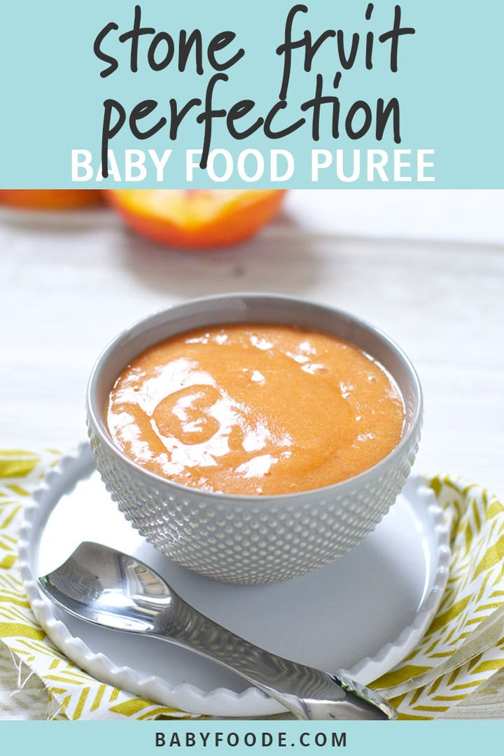 Graphic for post - Stone Fruit Perfection Baby Food Puree. Image is of a bowl filled with a homemade summer time baby food.
