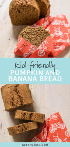 Pinterest image for toddler and kid friendly healthy pumpkin banana bread.