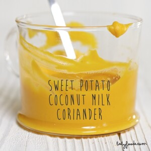 clear cup filled with a creamy sweet potato baby food puree with a white spoon coming out of it.