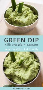 A bowl of toddler and kid friendly avocado and edamame dip.
