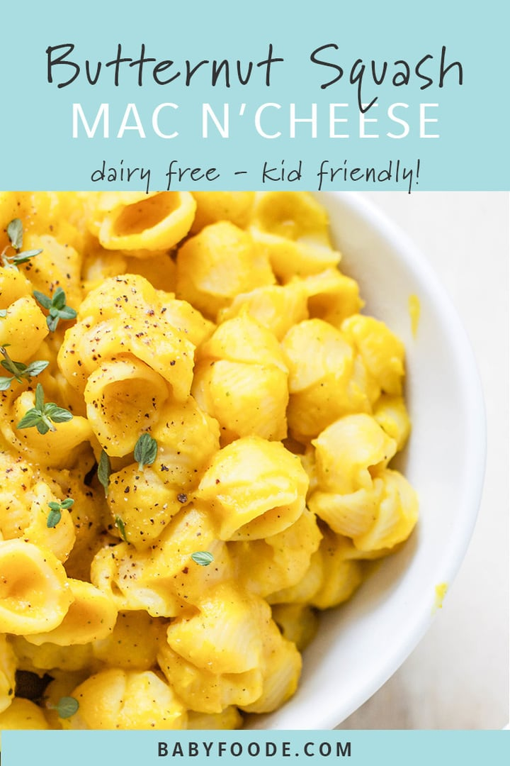 A bowl of dairy free kid friendly butternut squash mac and cheese.