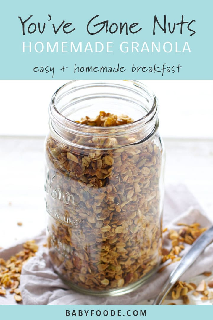 A jar of homemade nut and seed granola.