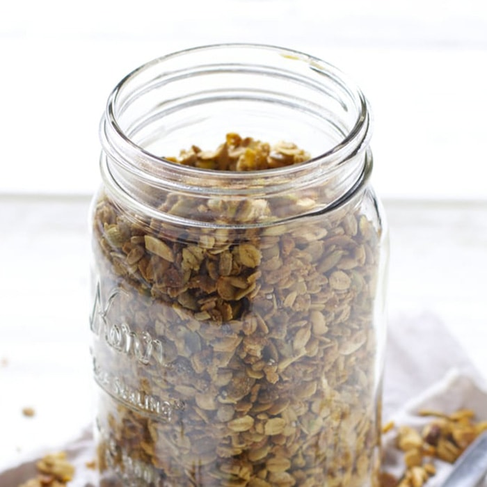 a Jar of nut granola for toddler and kids