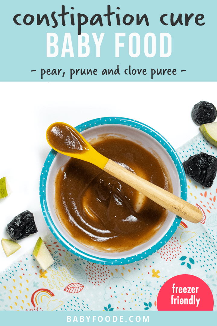 Graphic for Post - constipation cure baby food - pear, prune and clove puree for baby. Image is a bowl fo baby food with a spoon holding a little bite.
