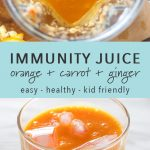 Orange carrot and ginger juice in a blender and in a glass.