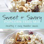 A bowl of kid friendly popcorn trail mix.