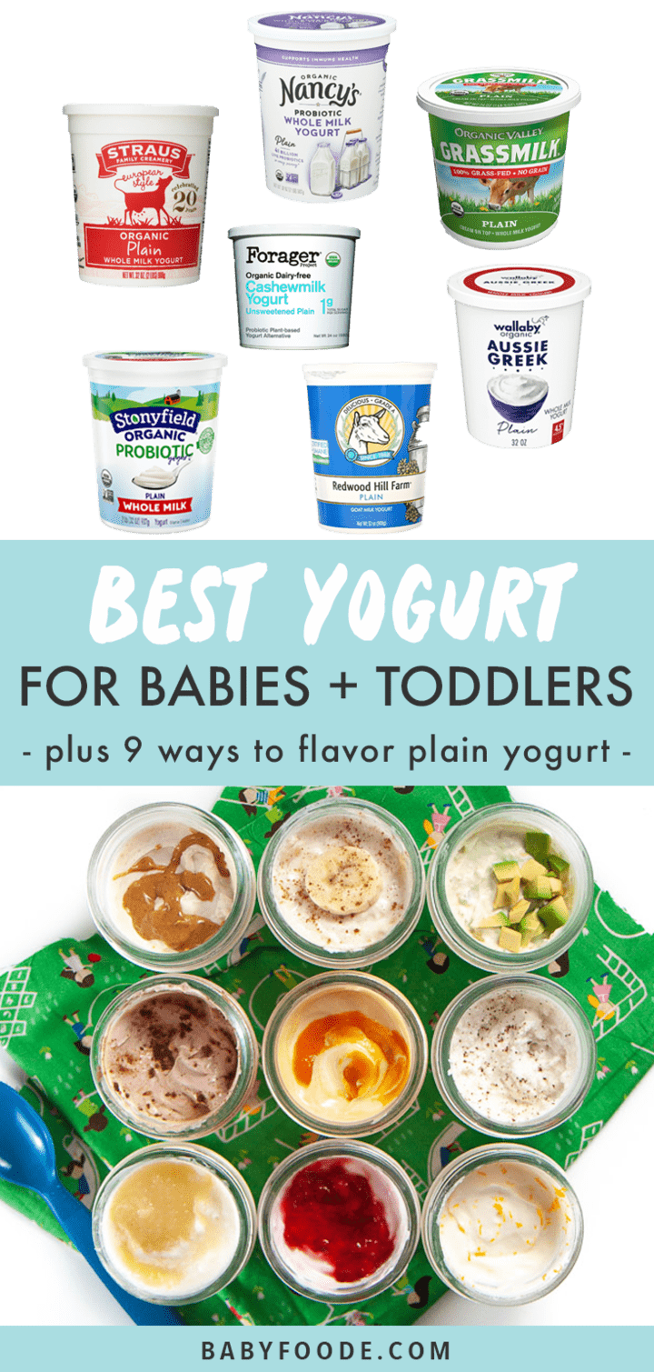 Graphic for Posts - best yogurt for babies and toddlers - plus 9 ways to flavor plain yogurt with images of brands of yogurts for baby as well as jars flavored.