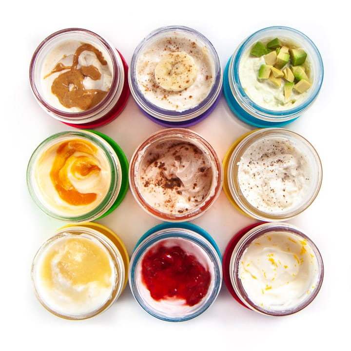 grid of yogurt for babies with 9 fun flavor added in!