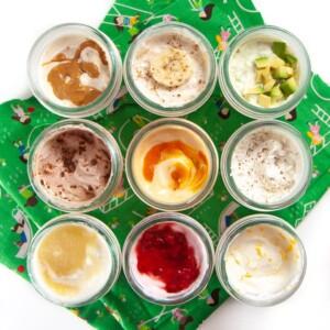 9 small jars of yogurts with fun mix-ins (sugar free).