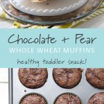 A chocolate pear whole wheat muffin on a white plate and a muffin tin of chocolate wheat muffins.