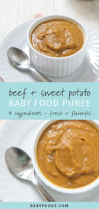 Pinterest image for beef sweet potato baby food puree.