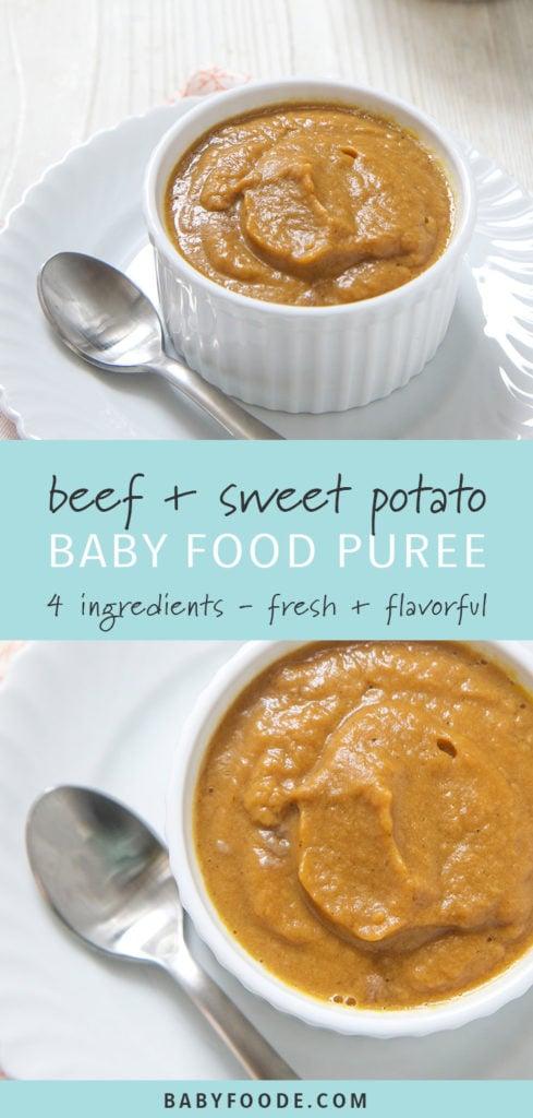 Pinterest image for beef sweet potato baby food puree.