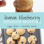 Lemon blueberry muffins in a muffin tin and a small stack of muffins.