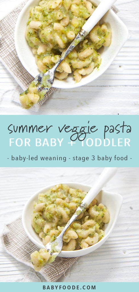 Graphic for post- summer veggie pasta for baby and toddler - stage 3 baby food. With images of a small bowl of pasta with green veggie sauce.