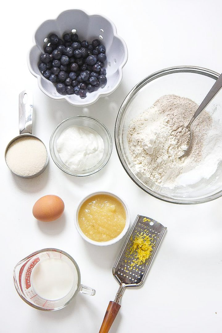 Ingredients spread out for toddler blueberry muffins.