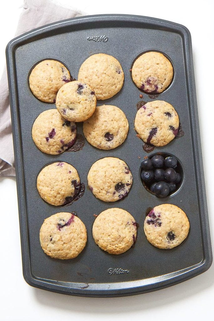 Tray of blueberry muffins for toddler.