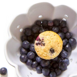 blueberry muffin in a bowl full of blueberries.