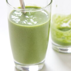 Toddler and kid friendly green smoothie in a glass.