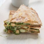 Stack of kale and spinach quesadillas for kids.