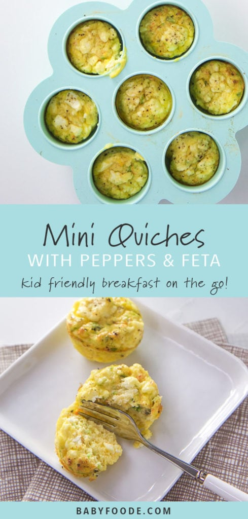 Pinterest image for mini quiche with feta and peppers, a kid friendly breakfast recipe.