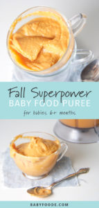 Graphic for post - fall superpower baby food puree for babies 6+ months.