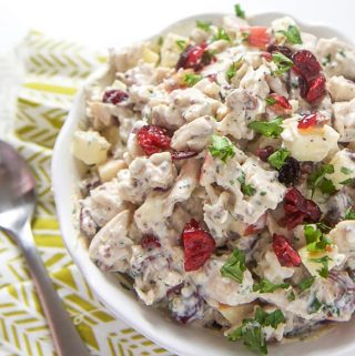 A white bowl filled with harvest chicken salad for toddler, kids and adults.
